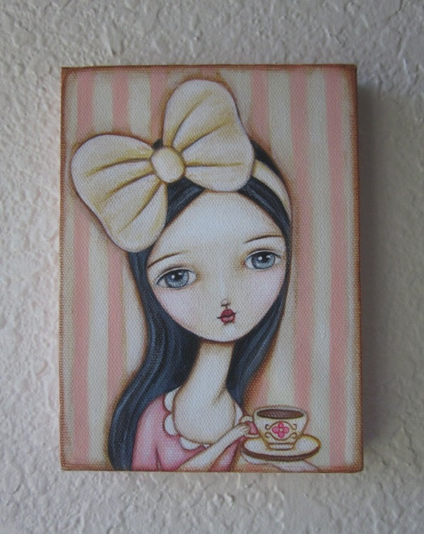 Original Acrylic Painting on Canvas-A Spot of Tea