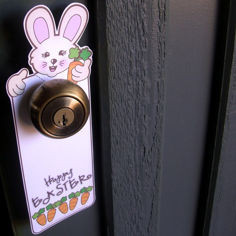 Printable Easter Bunny and Carrots Door by HoneyBops on Etsy from etsy.com