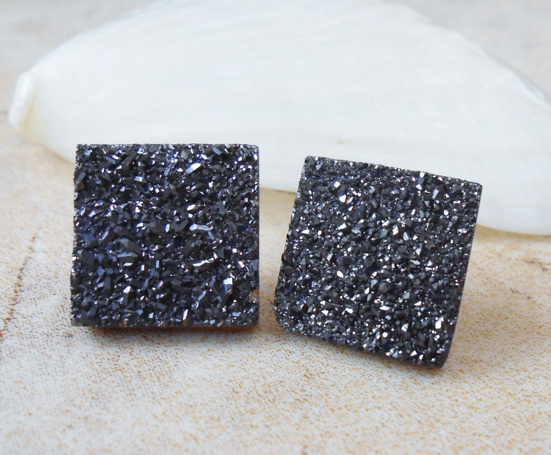 Raw Agate Titanium Druzy Jet Black Cubic Shaped Steel Earring Titanium Posts/ Studs - IsamarML