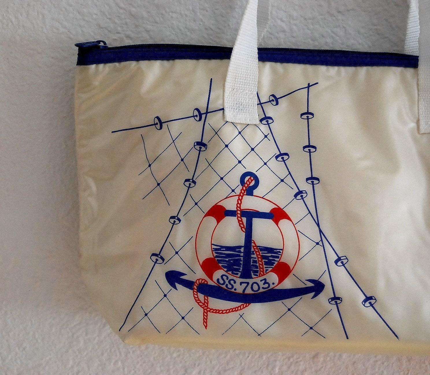 AHOY MATES...oversized vinyl sailor tote bag