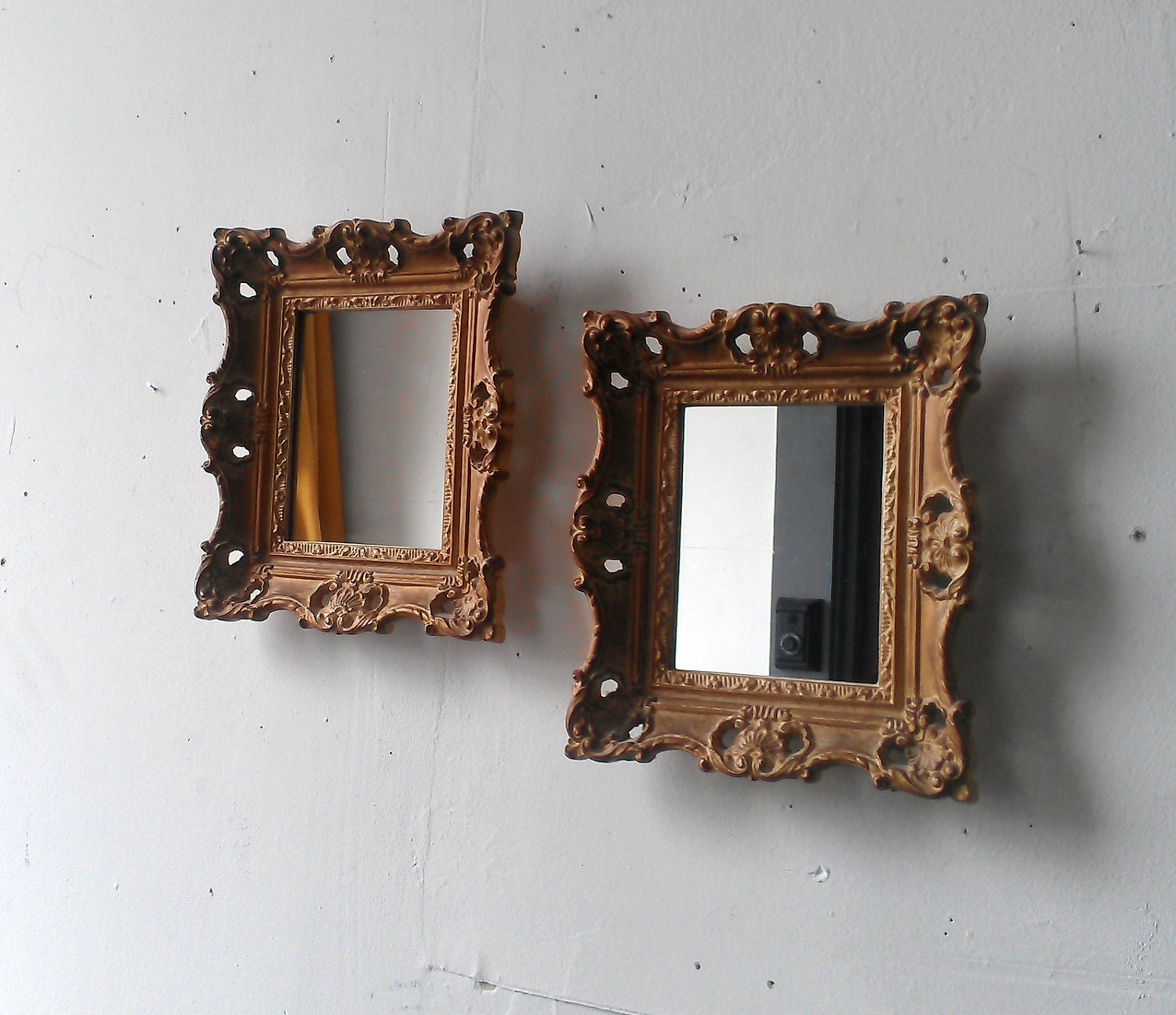 Vintage gold mirror set in small baroque by for Small gold framed mirrors