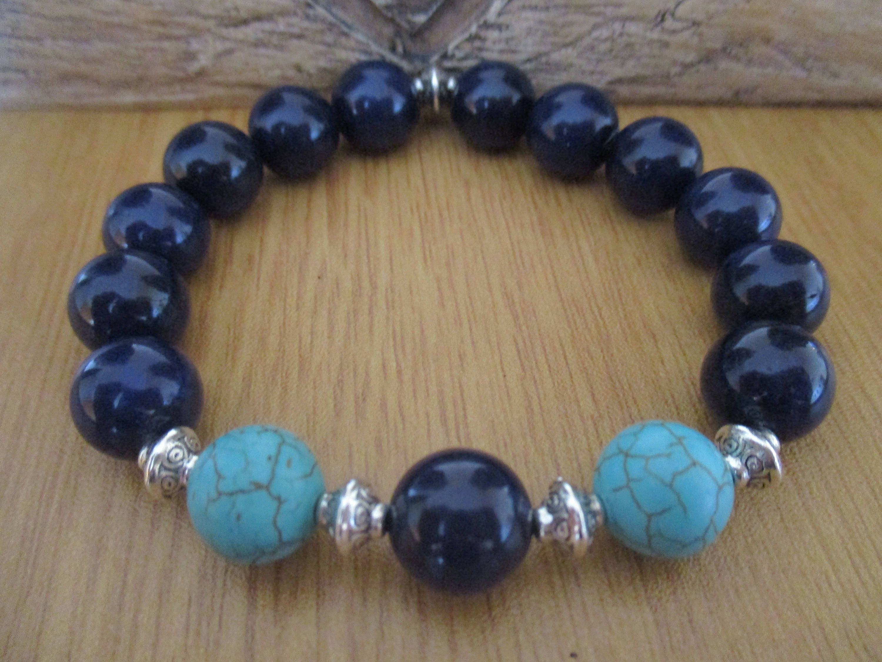 Mens Bracelet with Blue Turquoise Gemstone Beads Blue Agate and Silver Coloured Tibtan Bicone Beads