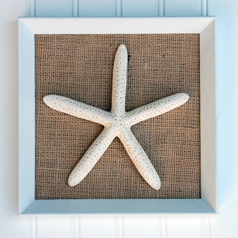 Beach Cottage Style Framed Starfish On Burlap