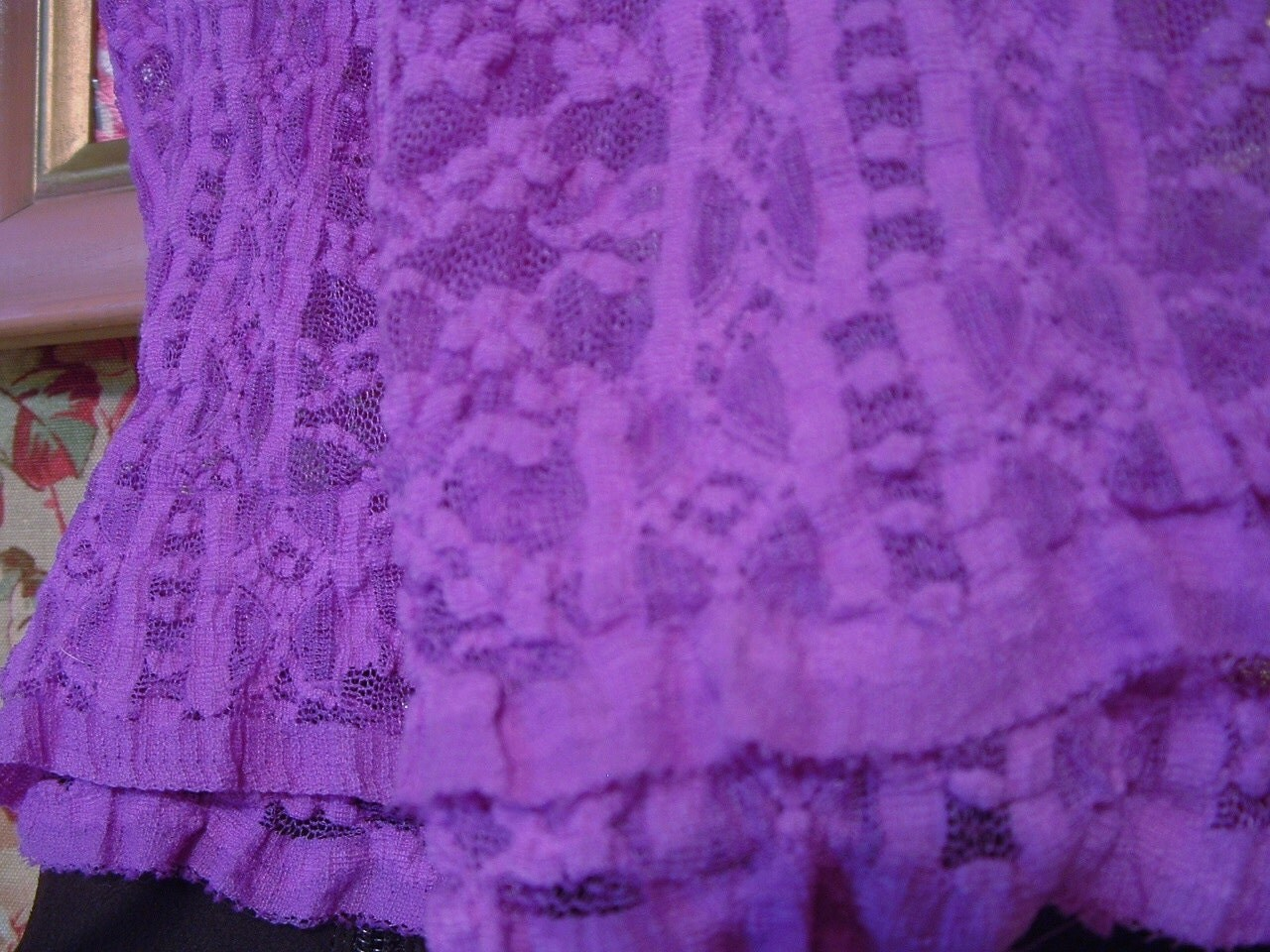 Ruffled Lace Leggings or Tights - Very Violet Purple