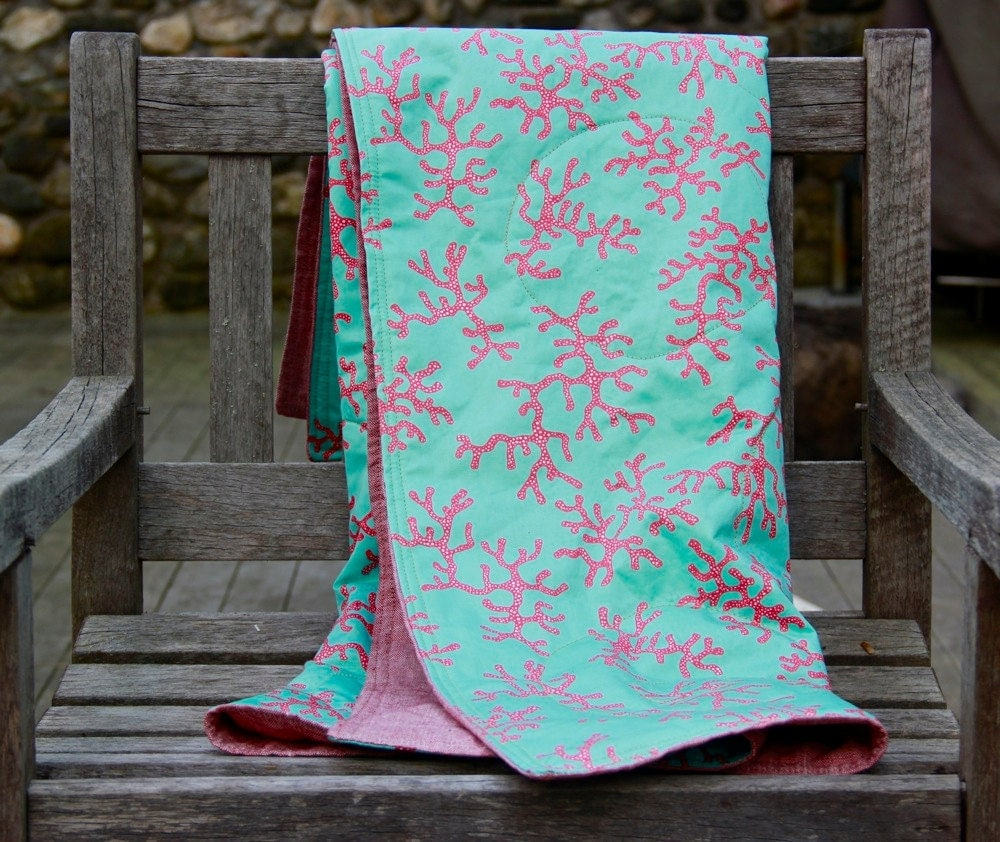 LILLY PULITZER Quilted Blanket - cotton sateen and linen