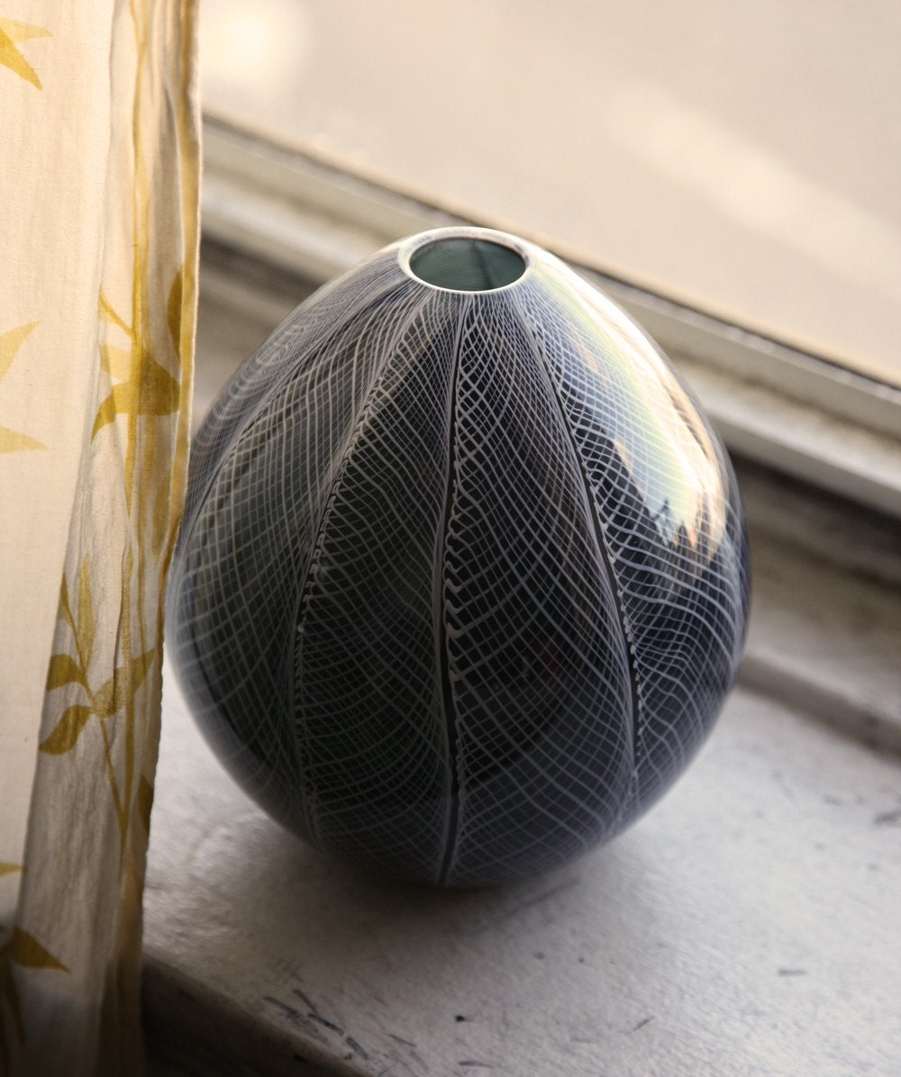 Charcoal and White Blown Glass Vase