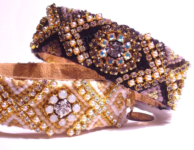Vintage Rhinestone Friendship Bracelet - BLACK GLAM