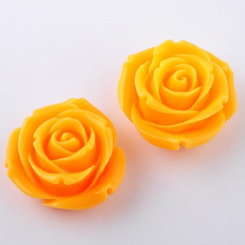 B152-TA // Tangerine Chunky Rose Cabochons, 2 Pc - JEWELRISMinc