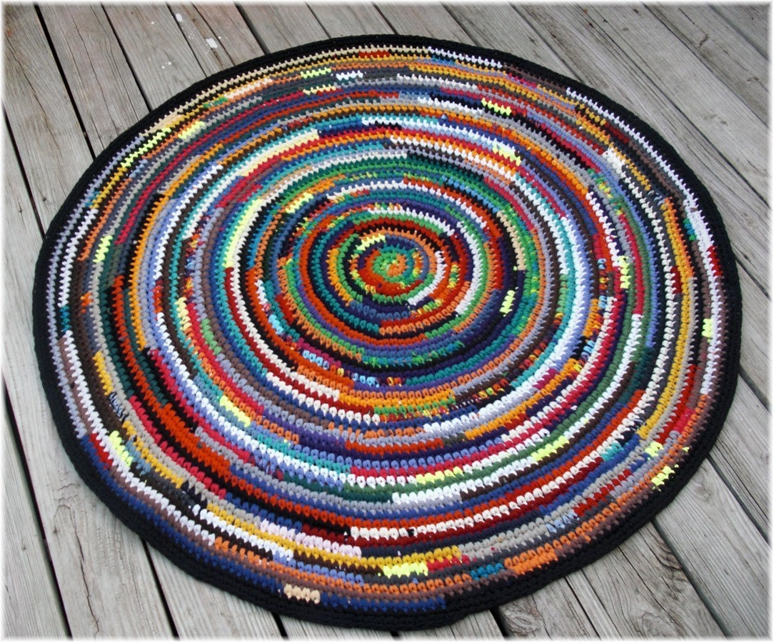 Round Rag Rug Multi Color 50 inches