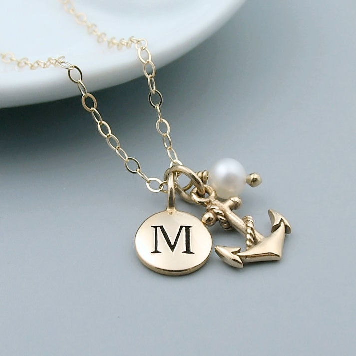 Gold Personalized Anchor Necklace