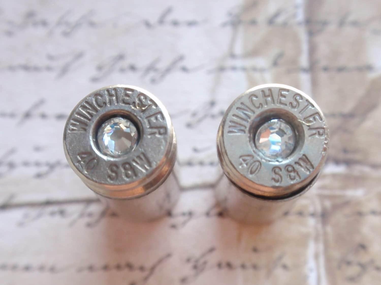bullet earrings jewelry 40 caliber clear gem stud