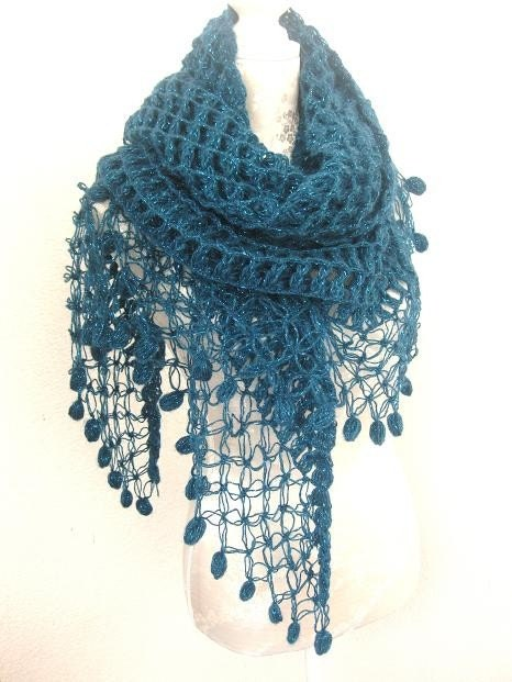 Teal Triangle Shawl, OOAK