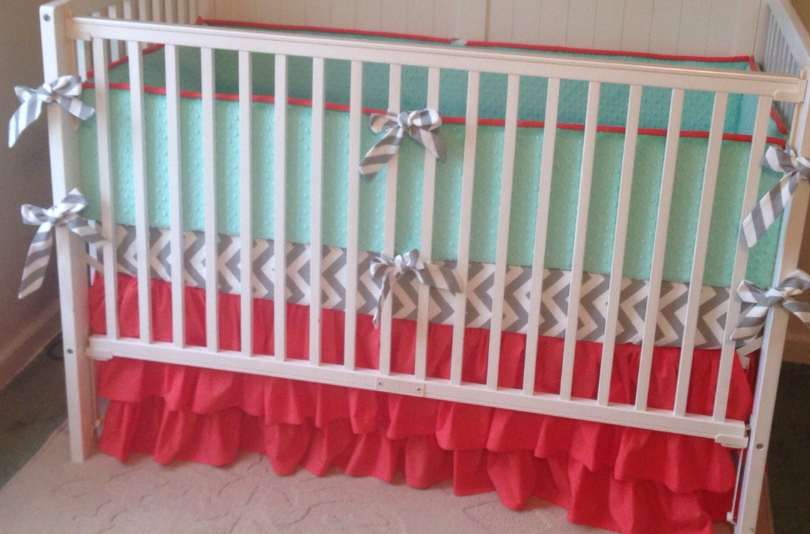 Crib Bedding Set Coral Gray And Mint Green By Butterbeansboutique