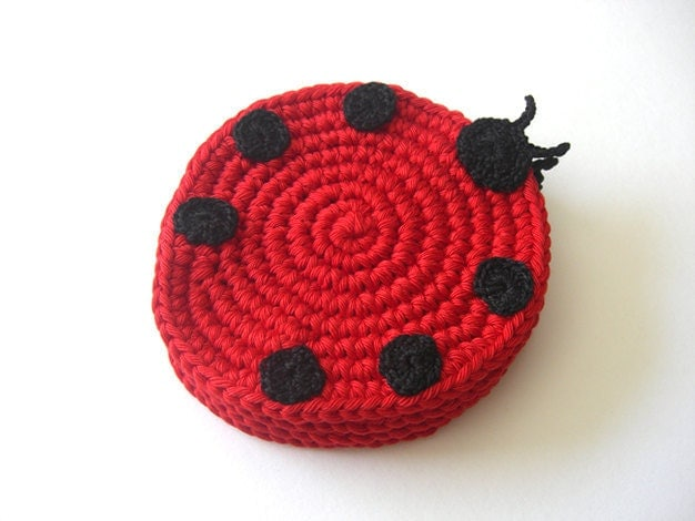 Ladybug Red Black Coasters . Beverage Nature Life Drink Dots Ladybird Ladybeetle Decor Crochet Cute Collection - Set of 4
