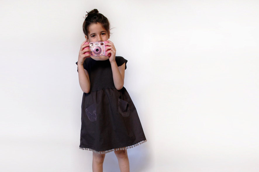 Black,  girls dress, girls summer dress - ANNAKSHOP
