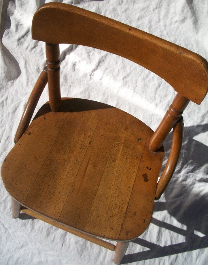 Antique Wooden Childrens Chair Stool  FREE SHIPPING