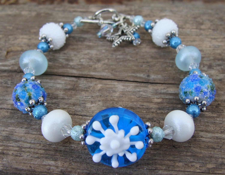 Winter Blues Artisan Lampwork Bracelet