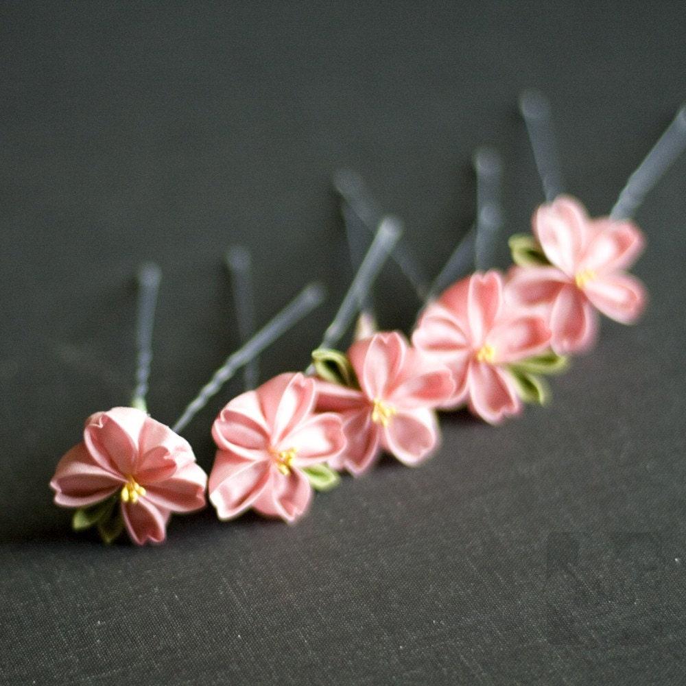 Pretty in Pink Sakura Kanzashi Hairpins Set of 5