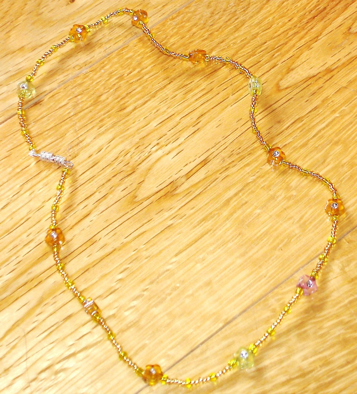 Grecian Sunshine yellow daisy beaded necklace