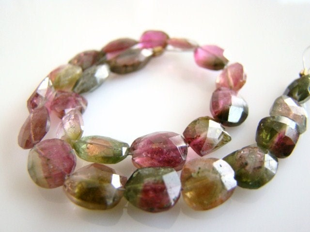 1/2 STRAND---So Amazing--Watermelon Tourmaline Faceted Slice Nuggets----REDUCED FROM 62.50