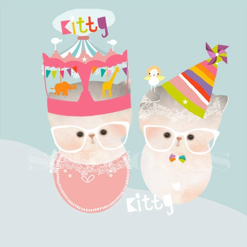 Nursery Cat Art Print Children Decor - 'Kitty Cuddles Carnival'