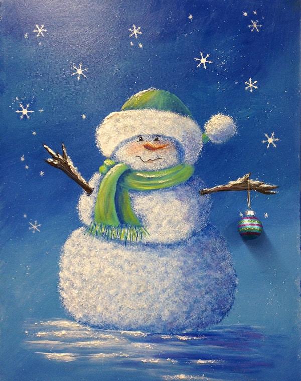 Little blue snowman an original acrylic by dianetrierweiler for How to paint snowmen
