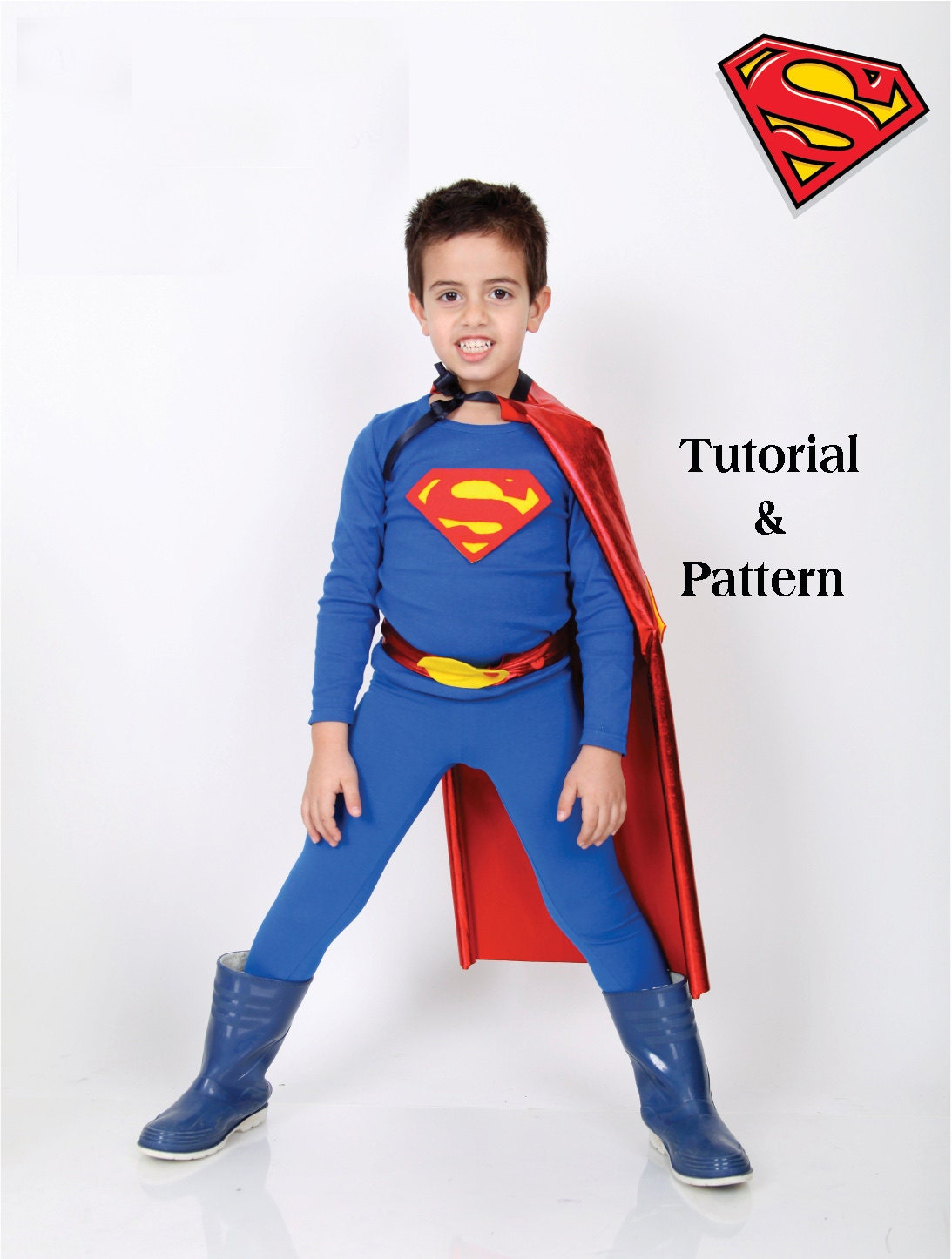 Diy costume kit kids superman halloween costume by giftforkids for Make your own superman shirt