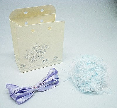 Mini size Gift Boxes with violet ribbon - set of 2