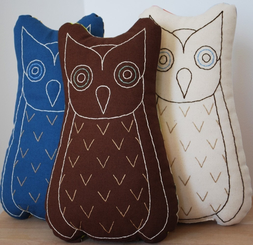 large owl pillow in blue