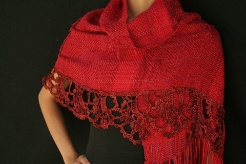 DEEP RED handwoven shawl / crochet point lace