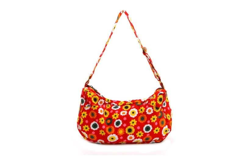Emma - Red Floral Cotton Hobo Slouch Bag with Adjustable Straps