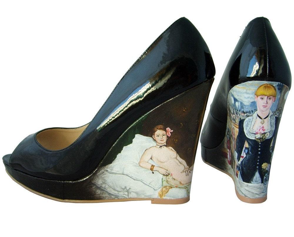 Edouard Manet Black Patent Peeptoe Platform Wedges Size UK 7 / US 9.5 / EU 40