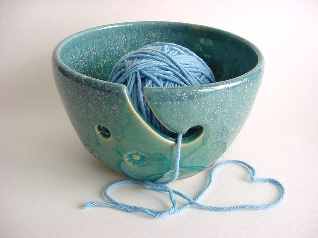 yarn holder yarn bowl handmade stoneware by darriellesclayart