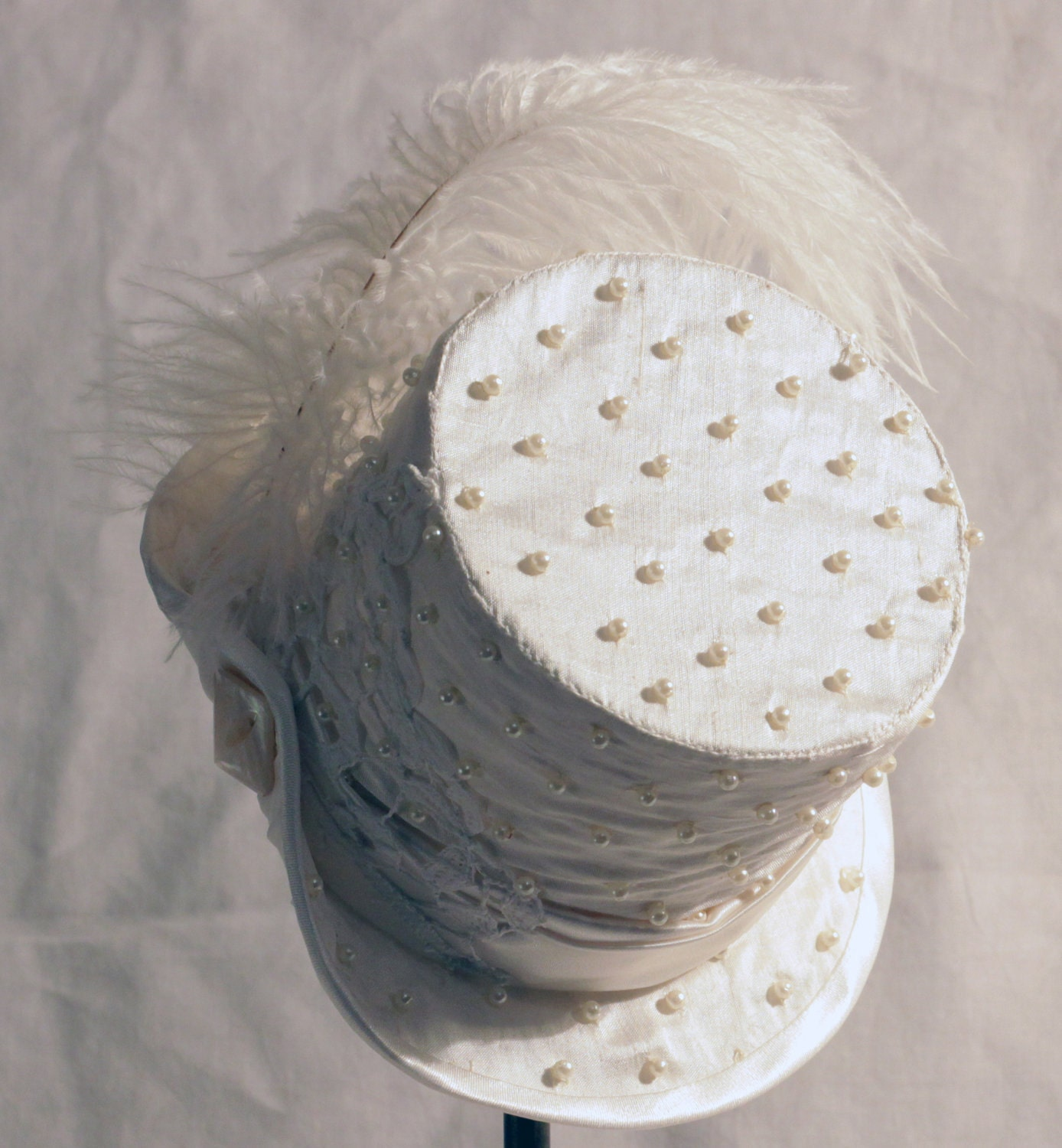 White Silk with Pearls Mini Top Hat