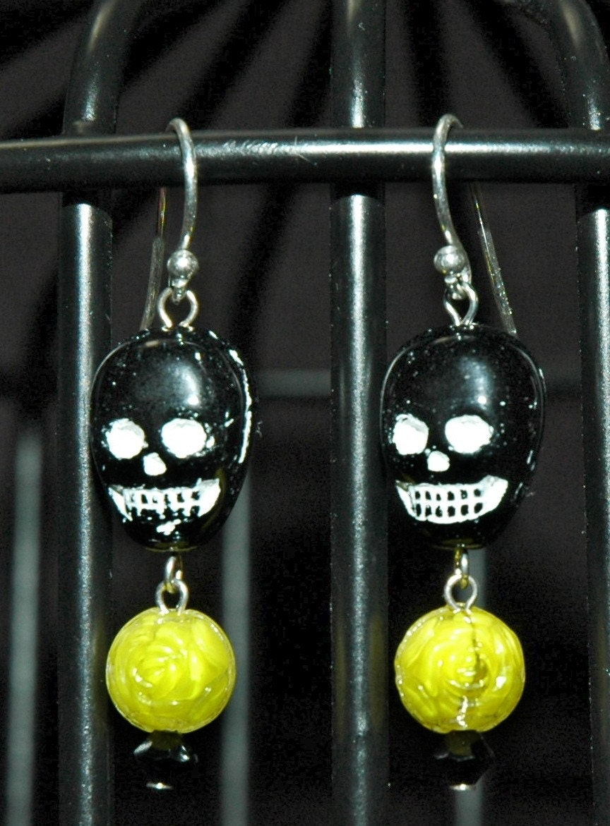 Black and Yellow Muerte Earrings