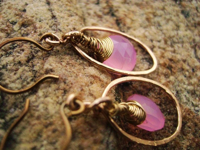 Pink Chalcedony Earrings-Hammered Gold Earring-Bridal