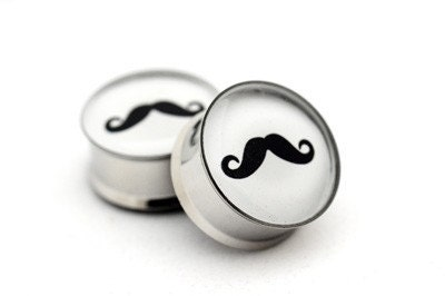 Mustache Picture Plugs gauges - 00g, 1/2, 9/16, 5/8, 3/4, 7/8, 1 inch