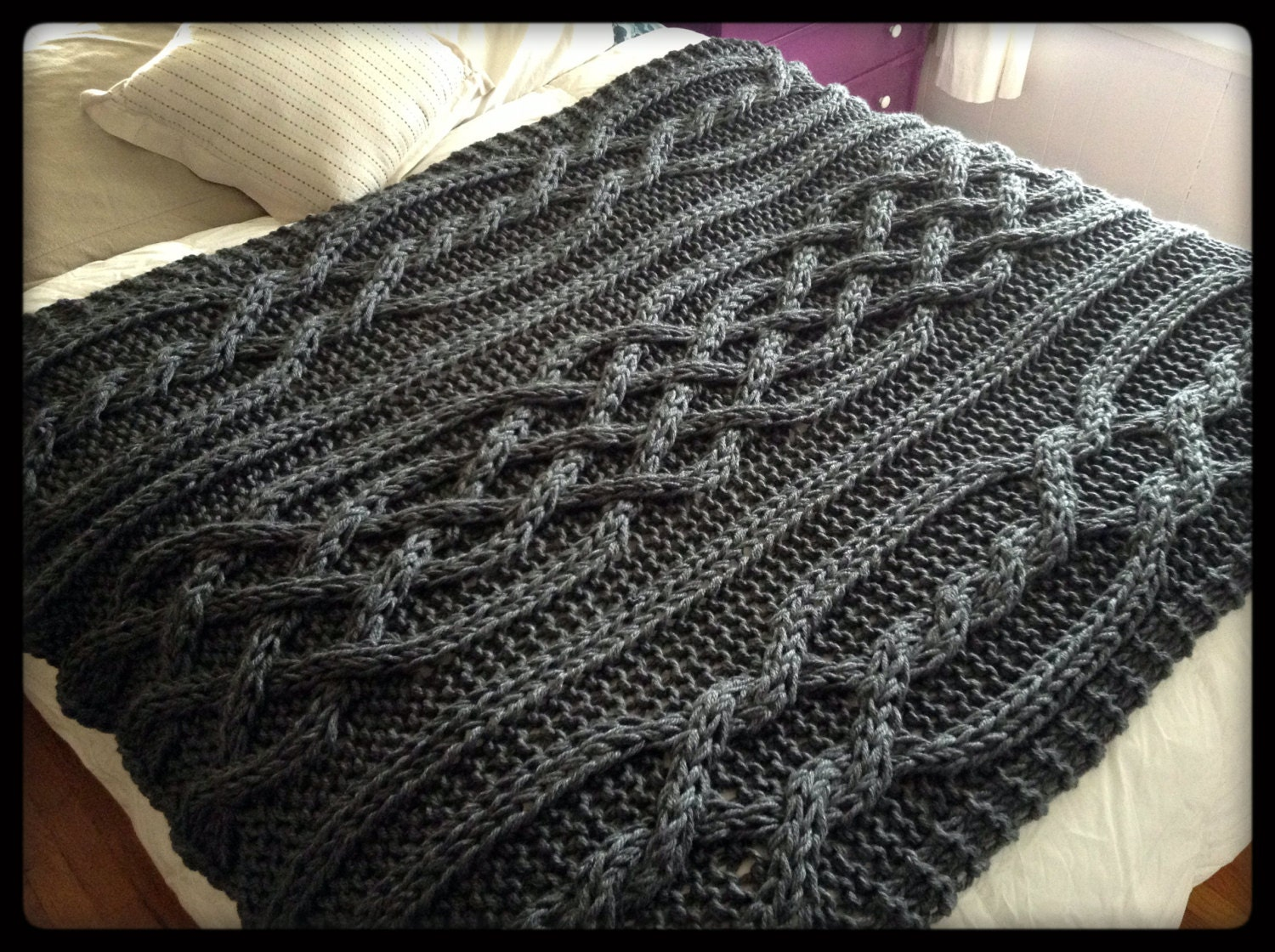 Knitting Pattern Blanket Cable : Olivia Cable Knit Blanket Made To Order by OzarksMomma on Etsy