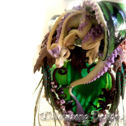 THE NEST- handsculpted vase in polymer clay with dragon and color changing sides