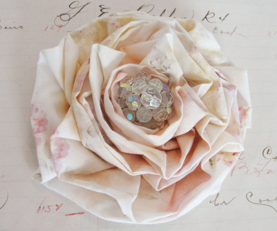 Cottage Rose Vintage Style Shabby Rosette Flower