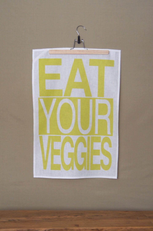 Cotton/Linen Tea Towel, Hand Printed, Eat Your Veggies in Citrus