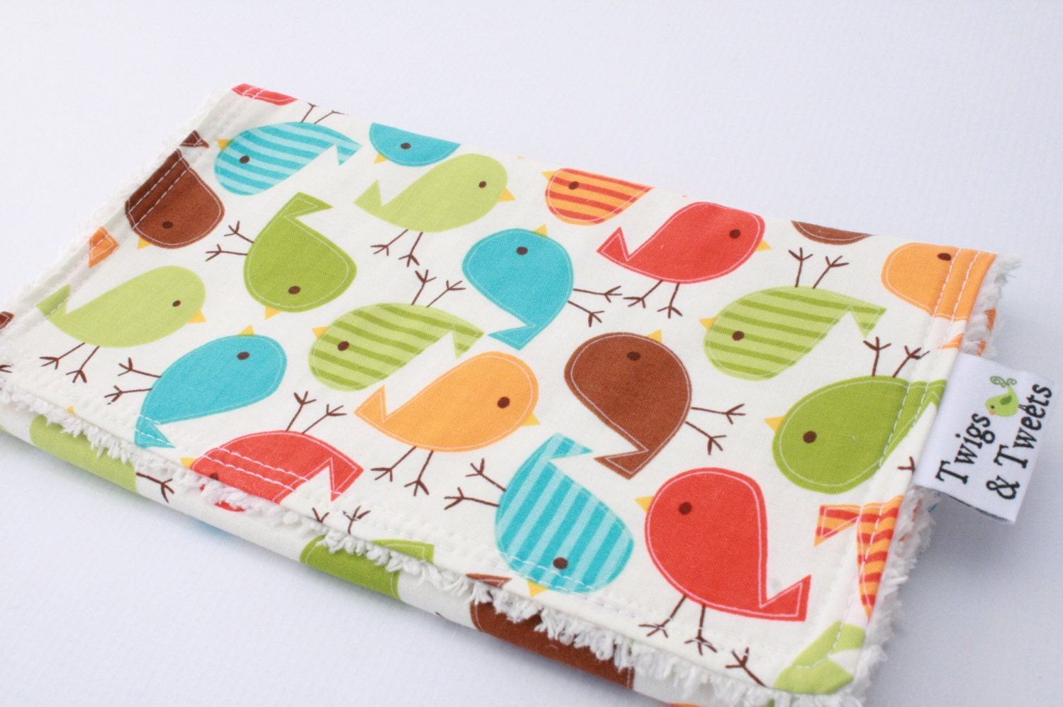 Urban Spring Birds- Burp Cloth on Vanilla Chenille