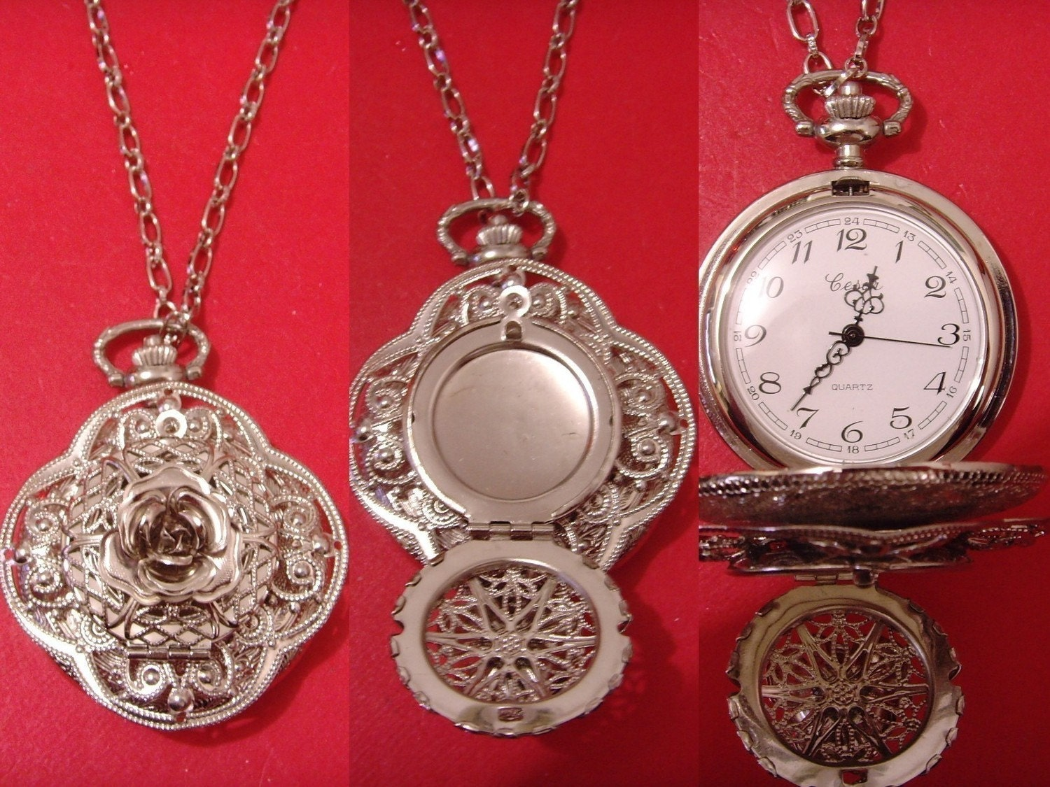 large silver tone filigree lace cover rose locket pendant pocket watch 24 inches necklace