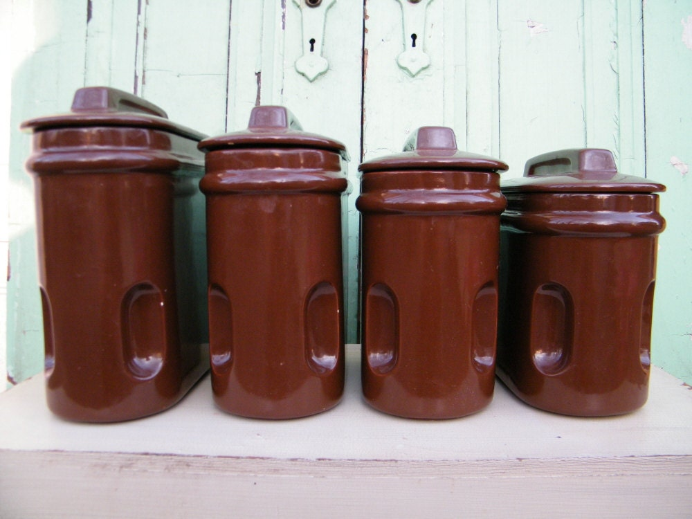 Kitchen Canisters Vintage Chocolate Brown Ceramic by