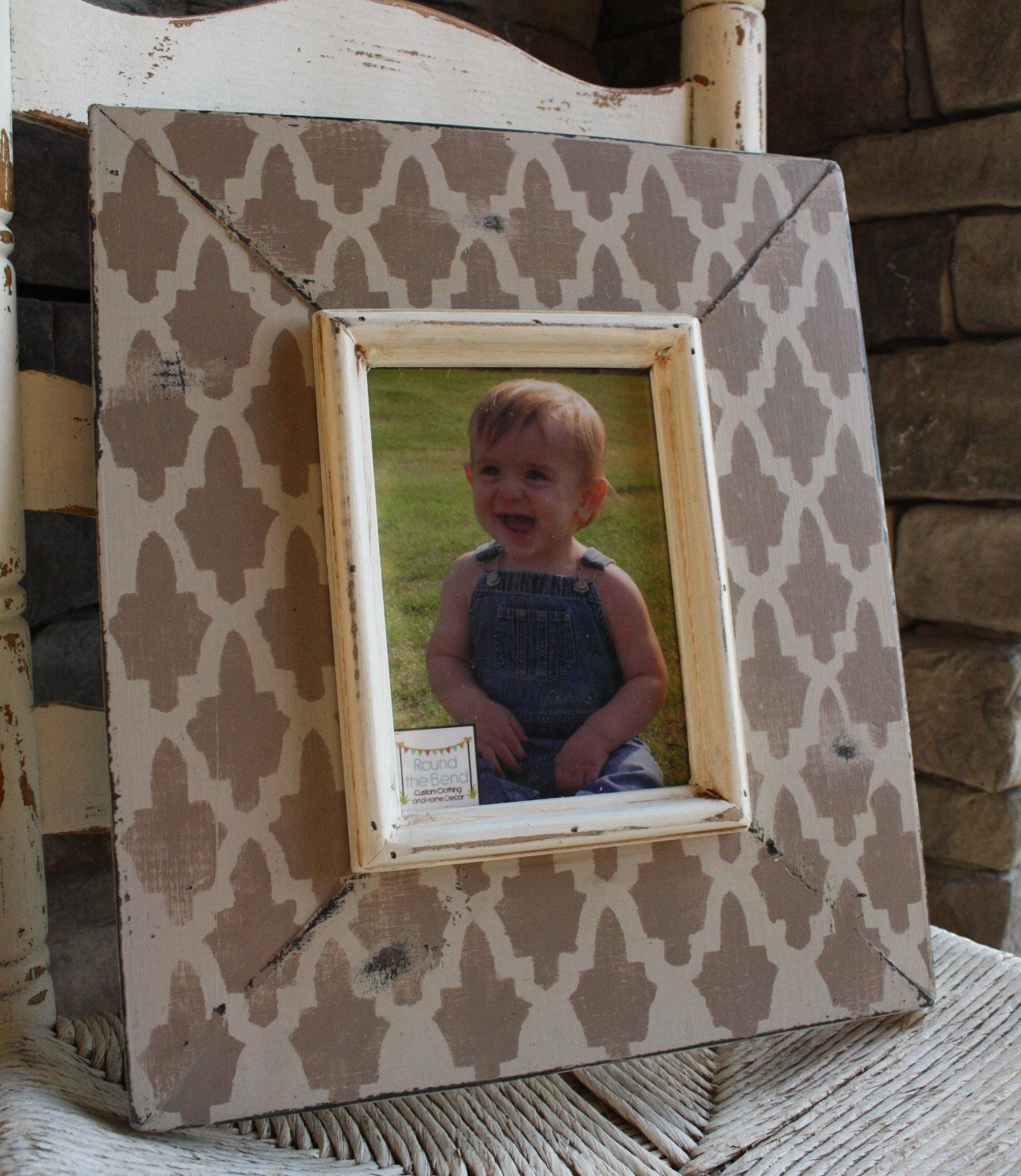 5x7 Taupe and Stone Grey Distressed Picture Frame - Available in ANY size and color