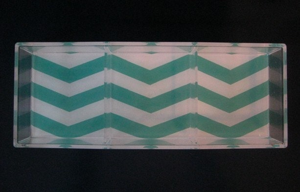 SALE Slightly Imperfect Turquoise/White Chevron Stripe Lucite Tray