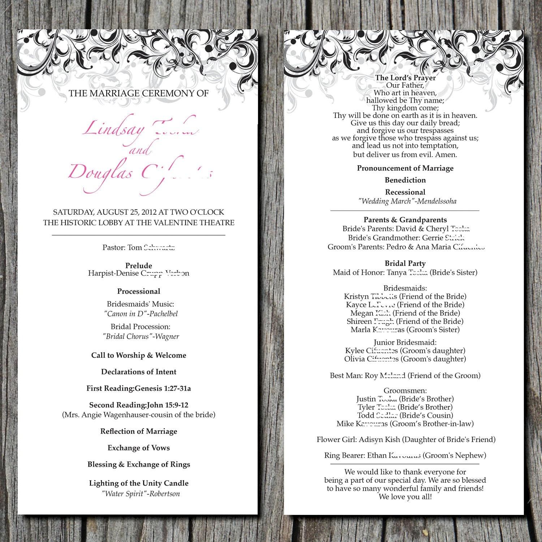 Simple Elegant Wedding Ceremony Program DIGITAL by ayleighdesigns