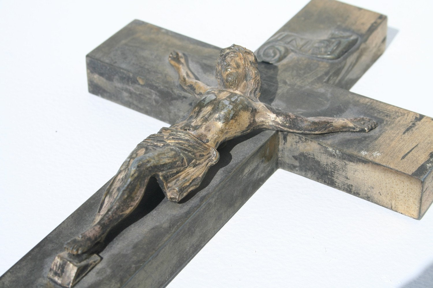 Beautiful Antique Metal Last Rites Crucifix
