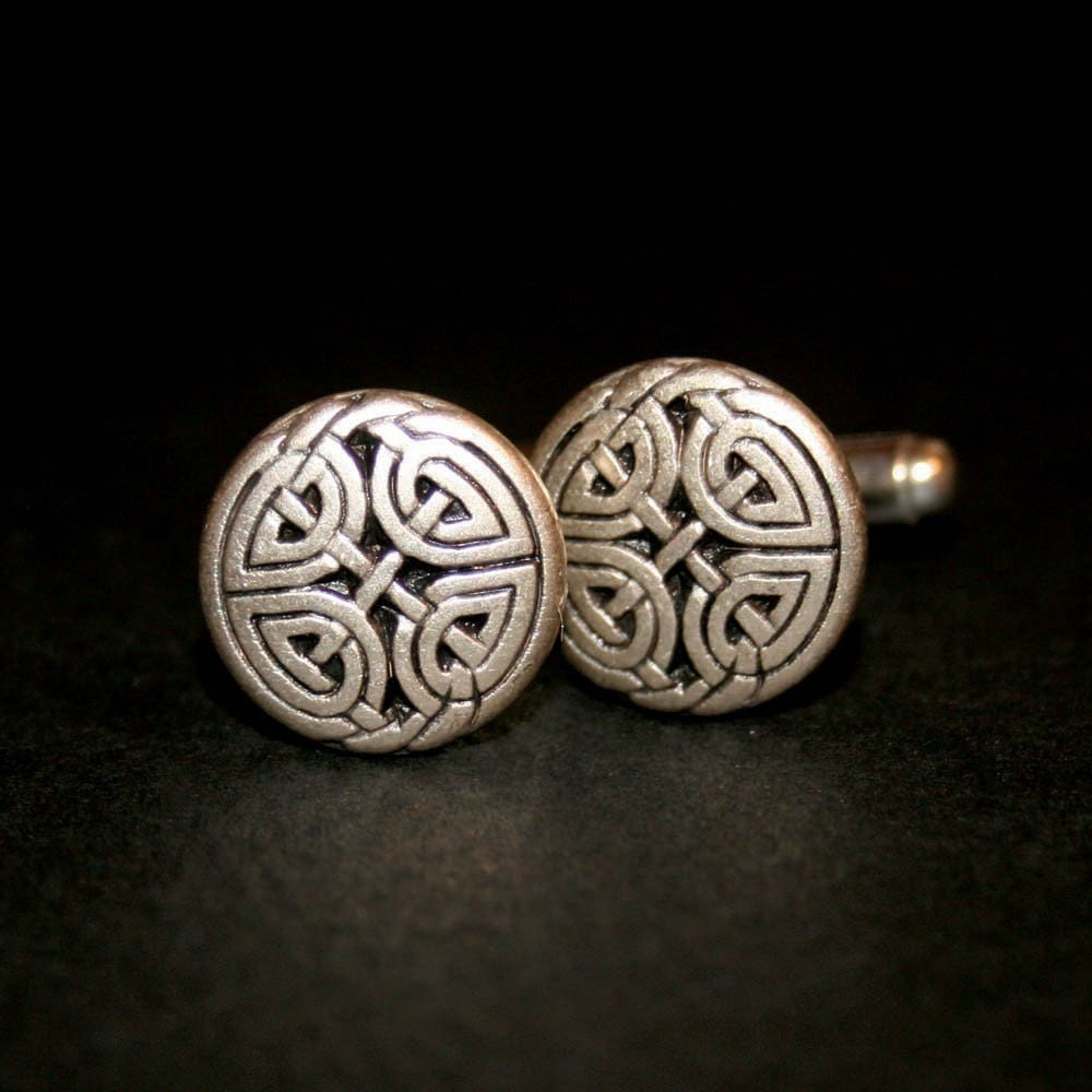 Cufflinks - Celtic Eternal Knot, Antique Silver Finish