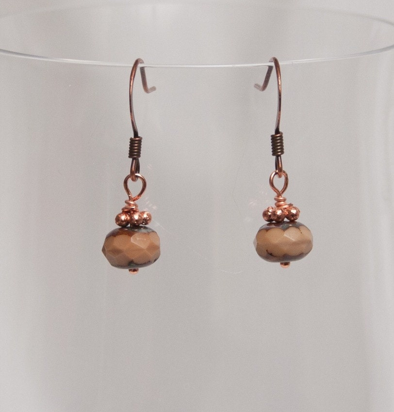Vintage Style Copper Glass Earrings - Toasted Almond